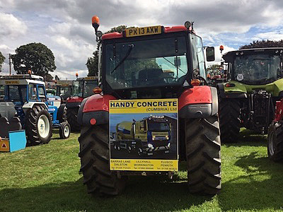 The tractor sponsored by Handy Concrete driven by David and Allan.