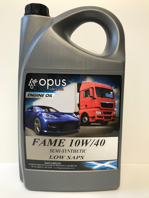 Opus Lubricants Engine Oil Fame 10W40 Semi Synthetic Low Saps Engine Oil